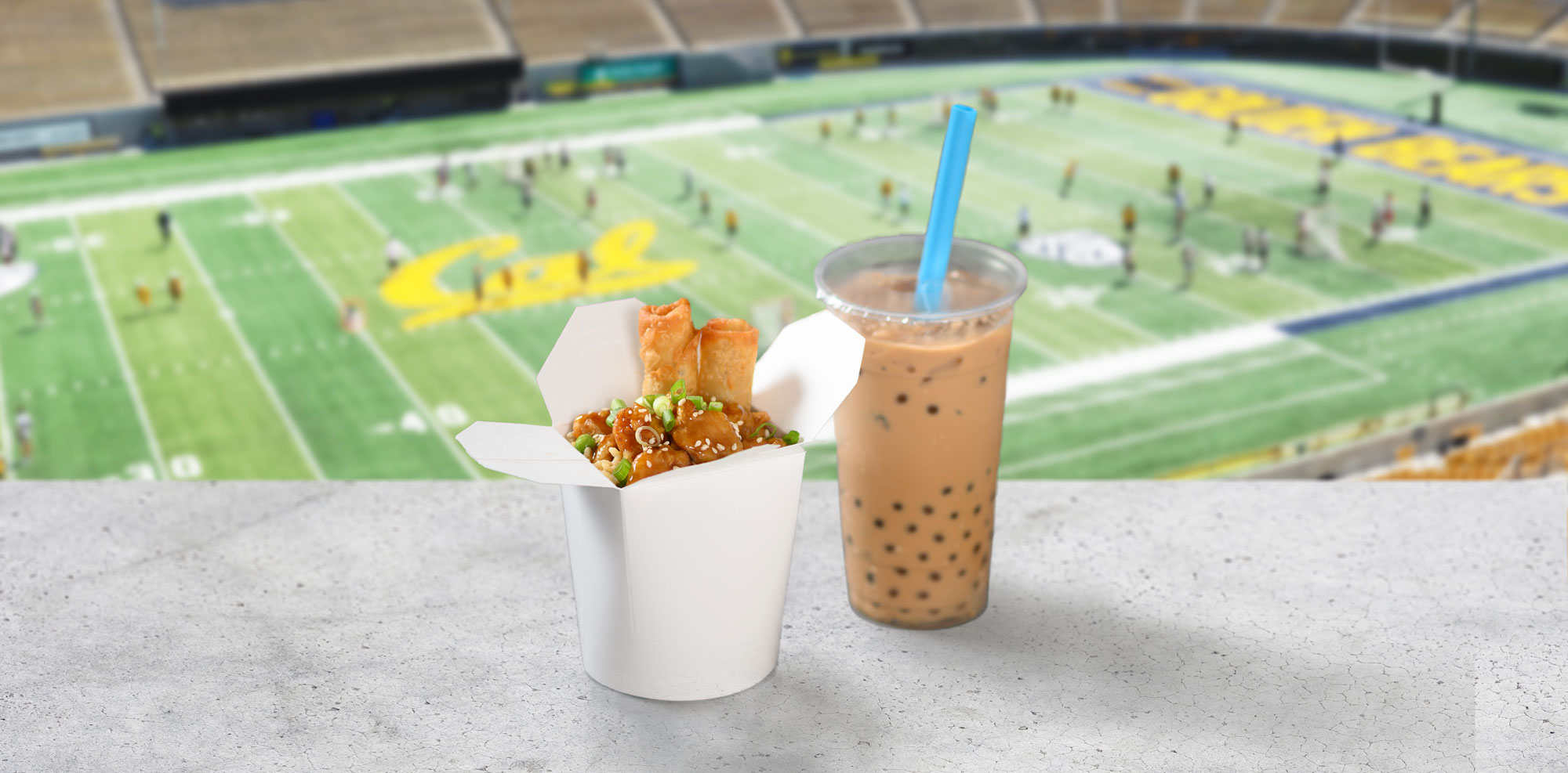 Orange Chicken and Spring Rolls with boba tea